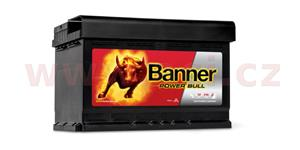 74Ah battery, 680A, right BANNER Power Bull 278x175x190
