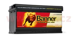 92Ah battery, 850A, right BANNER Running Bull AGM 354x175x190