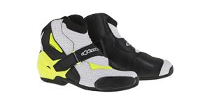 boots SMX-1 R VENTED, ALPINESTARS (black/white/hi-vis, perfored leather)