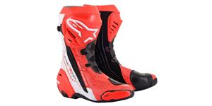 boots SUPERTECH R, ALPINESTARS (red fluo/white/black, perforated)