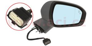 rear view mirror el. oper. heated aspherical with indicator lamp foot lamp and assistent part. primed (13pins)  R