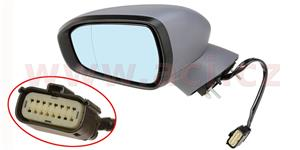 rear view mirror electrically operated heated with indicator lamp el. foldable with foot lamp primerized (9pins)  L